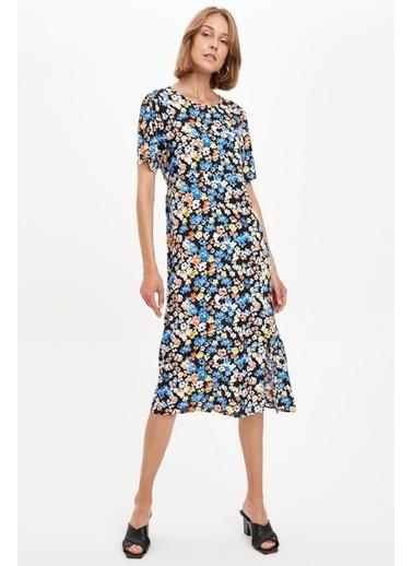 DeFacto Çiçek Desenli Kısa Kollu Dokuma Elbise Mavi